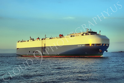 CCS 00065 Car carrier ship SWAN ACE enters New York Harbor, maritime picture, by John G Lomba