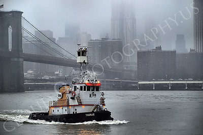 TUGB 00019 Tugboat TARUS on the East River in New York City, maritime picture, by John G Lomba