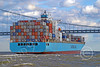 CCS 00009 Maersk Dhahran Monrovia loaded down with cargo containers approaches a bridge, by John G  Lomba
