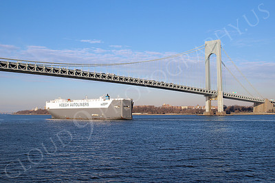 CCS 00048 Car carrier ship HEOGH DURBAN of HOEGH AUTOLINERS sails under Verrazano Bridge and enters New York Harbor, by John G Lomba