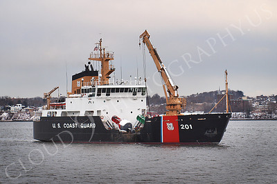 USCGS 00001 USCG bouy tender ship JUNIPER at work in New York Harbor, maritime picture, by John G Lomba