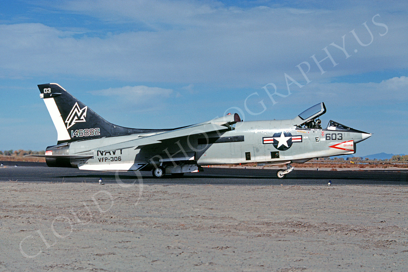 RF-8USN 00001 Vought RF-8 Crusader VFP-306 USN 146882 ND Fallon NAAS 31 October 1977 by Peter B Lewis