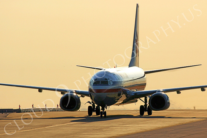 B737 00105 American Airlines Boeing 737 dawn taxi airliner picture, by Tim Perkins