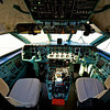 pilot cockpit in an VIP commercial airplane