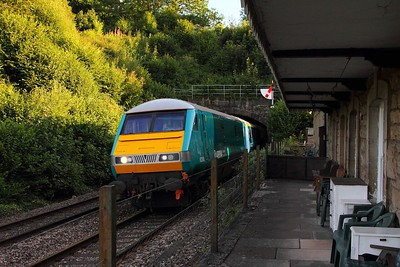 82306+67002 on the 1W88 Cardiff to Chester at half the old platform at Pontralis on the 8th August 2015