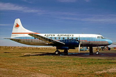 Aspen Airways Convair 440-38 N4813C (msn 106) (white top, blue stripe) DEN (John B. Hayes). Image: 910247.