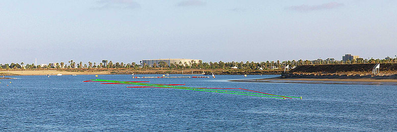 The slalom course at Hidden Anchorage in mission Bay. Boat guides lie along the green lines. Skiers connect the dots like the red lines.