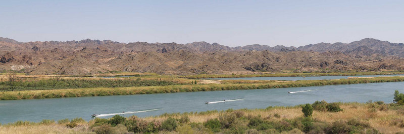 "A Convair skiboat-skiboat-skiboat at ""the river"" above Picacho State Recreation Area<br /> <br /> Use size 'O' to view full size panorama."