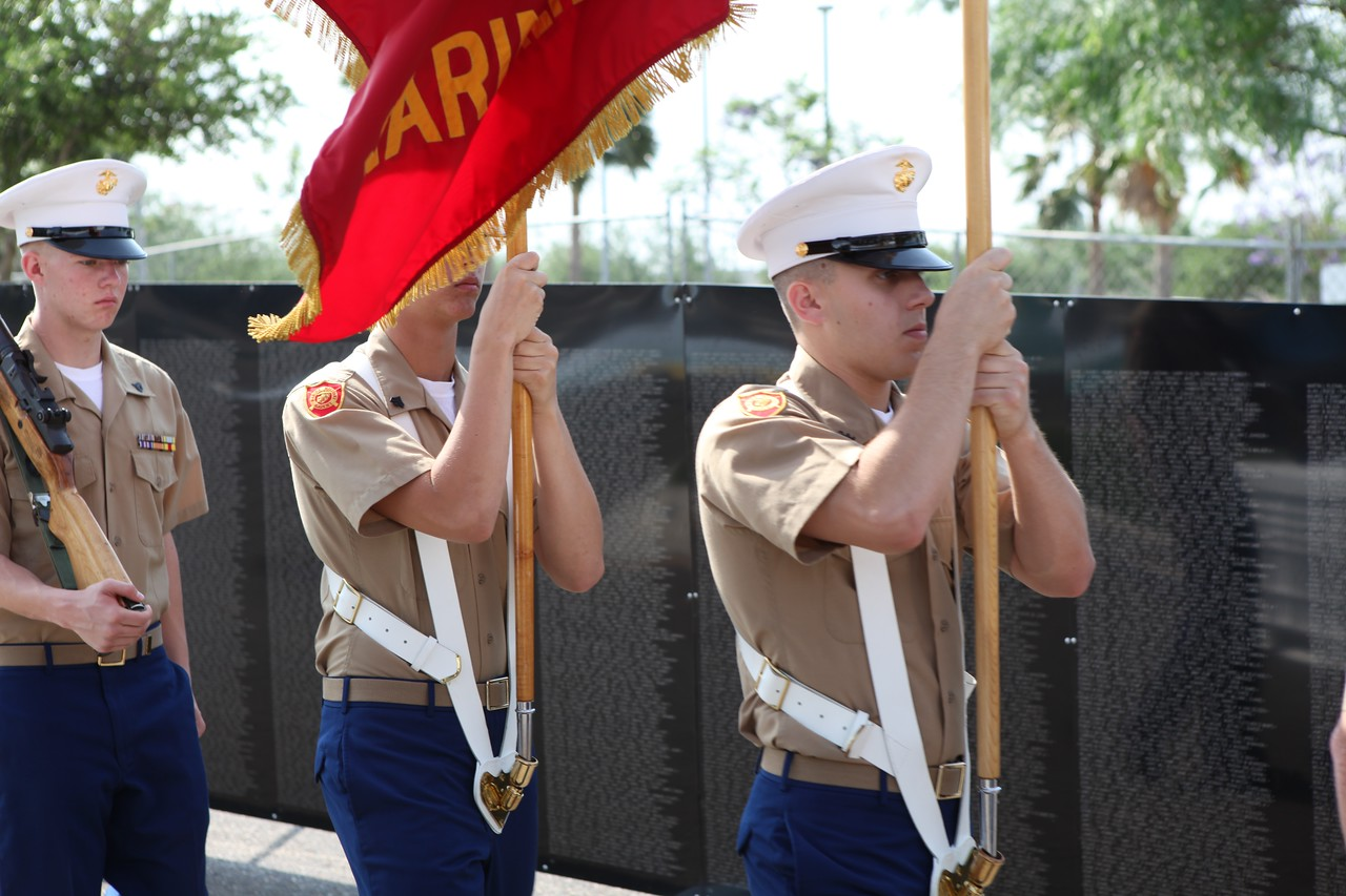 Marine Military Academy cadets present colors at LZRGV Healing Wall news conference.