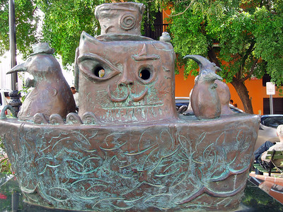 """This sculpture was mysteriously called something like """"Penguins in a Boat."""" (My Spanish is a little rusty.)"""