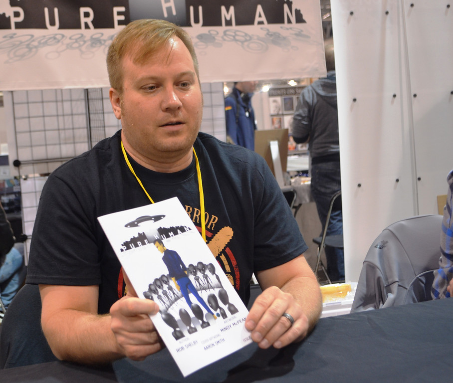 . Rob Shelby, author of Pure Human. Images from Friday May 16 at the Motor City Comic Con in Novi, Michigan.  Photo by Dave Herndon.