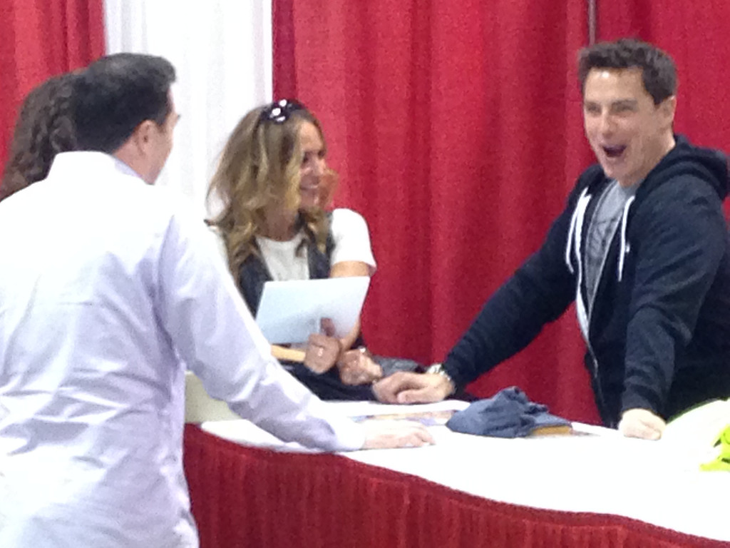 . Drea DeMatteo and John Barrowman in images from Friday May 16 at the Motor City Comic Con in Novi, Michigan.