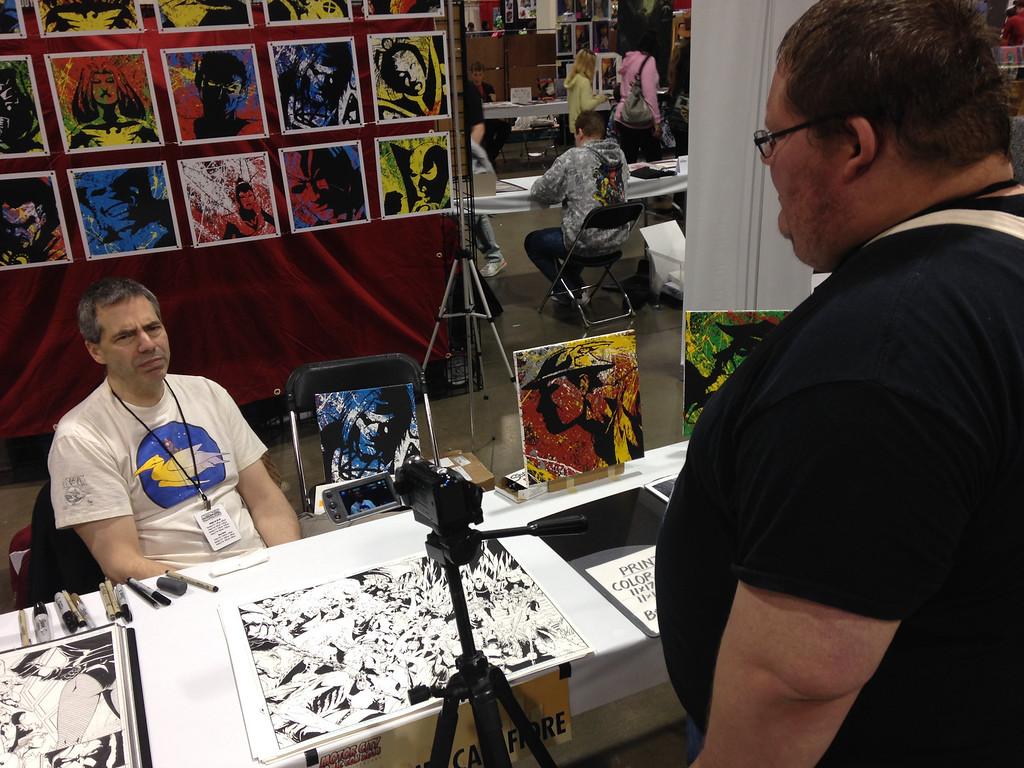 . Jim Calafiore at Motor City Comic Con interviewed by Dave Herndon. Friday May 16. Photo by David Komer