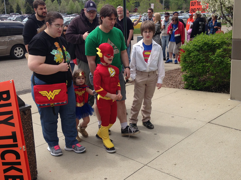 . Parents are Mark and Jenny Swerbensky from Warren.with Xander, 11 (Superman), Aiden, 7 (Flash), Emily, 3, (Wonder Woman) Friday at Motor City Comic Con. Photo by David Komer