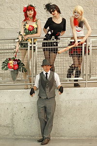 Poison Ivy, Catwoman, Harley Quinn, & Batman
