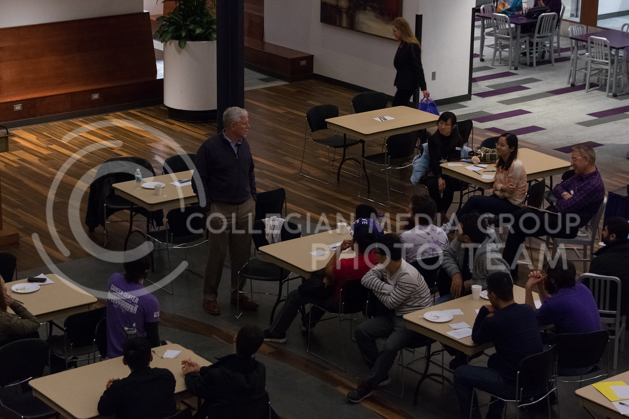 Duing the Conversation Cafe in the union courtyard on February 28, 2018, President Myers answers student questions about leadership, religion, and his time in Vietnam. (Alex Todd   Collegian Media Group)