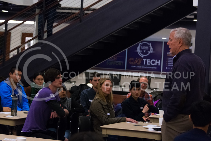 Hosted by Bridges International, President Myers discuesses top leadership qualities during the Conversation Cafe in the union courtyard on February 28, 2018. (Alex Todd | Collegian Media Group)