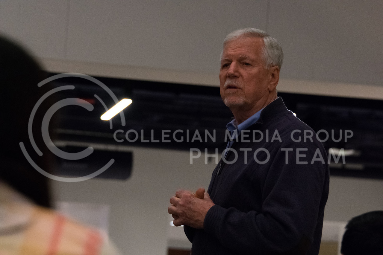 Hosted by Bridges International, President Myers discuesses top leadership qualities during the Conversation Cafe in the union courtyard on February 28, 2018. (Alex Todd   Collegian Media Group)
