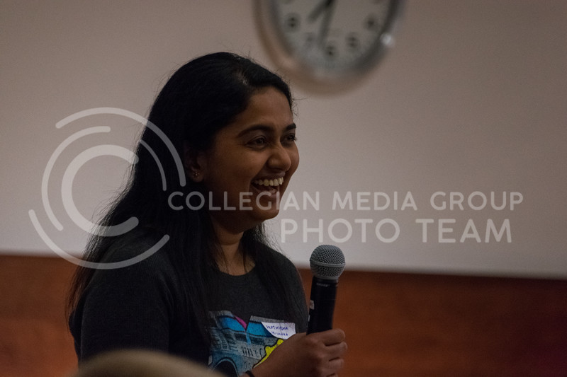 Prathibha Srilanka helped field questions for President Myers at the Conversation Cafe in the union courtyard on February 28, 2018. (Alex Todd | Collegian Media Group)