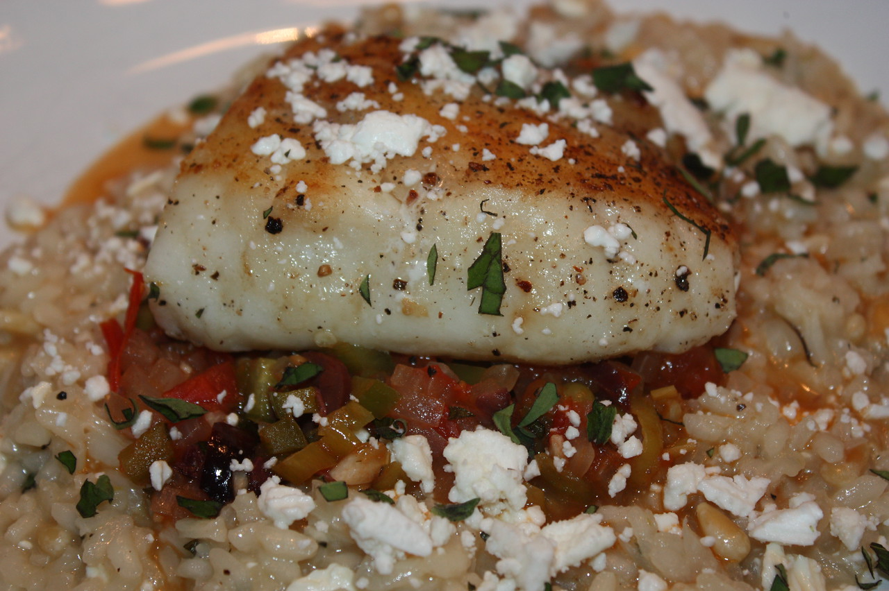 Grilled Halibut with Mediterranean Sauce and Feta Cheese