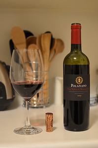 Sangiovese wine from Poliziano in Tuscany, Italy.
