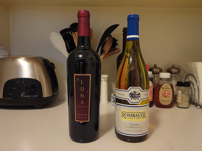 Sangiovese from Luna Vineyards - Napa Valley, California. Chardonnay from Rombauer Vineyards - Carneros, California.