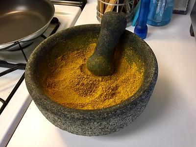 Hand-ground Jamaican curry powder.