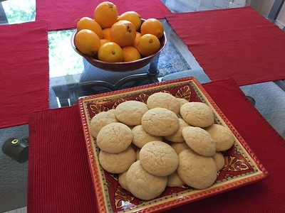 Freshly baked Myers lemon sugar cookies.