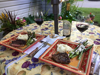 Grilled rib eye steaks, grilled asparagus and roasted garlic mashed potatoes