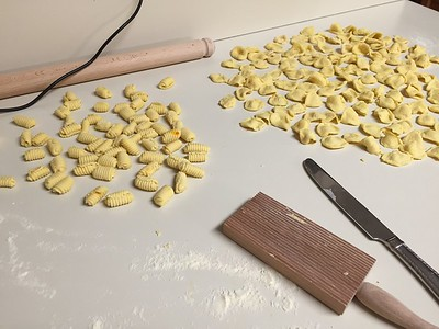 Malloreddus (Sicilian gnocchi, left) and orecchiette