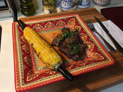 Grilled hanger steak w/chirmol and grilled corn
