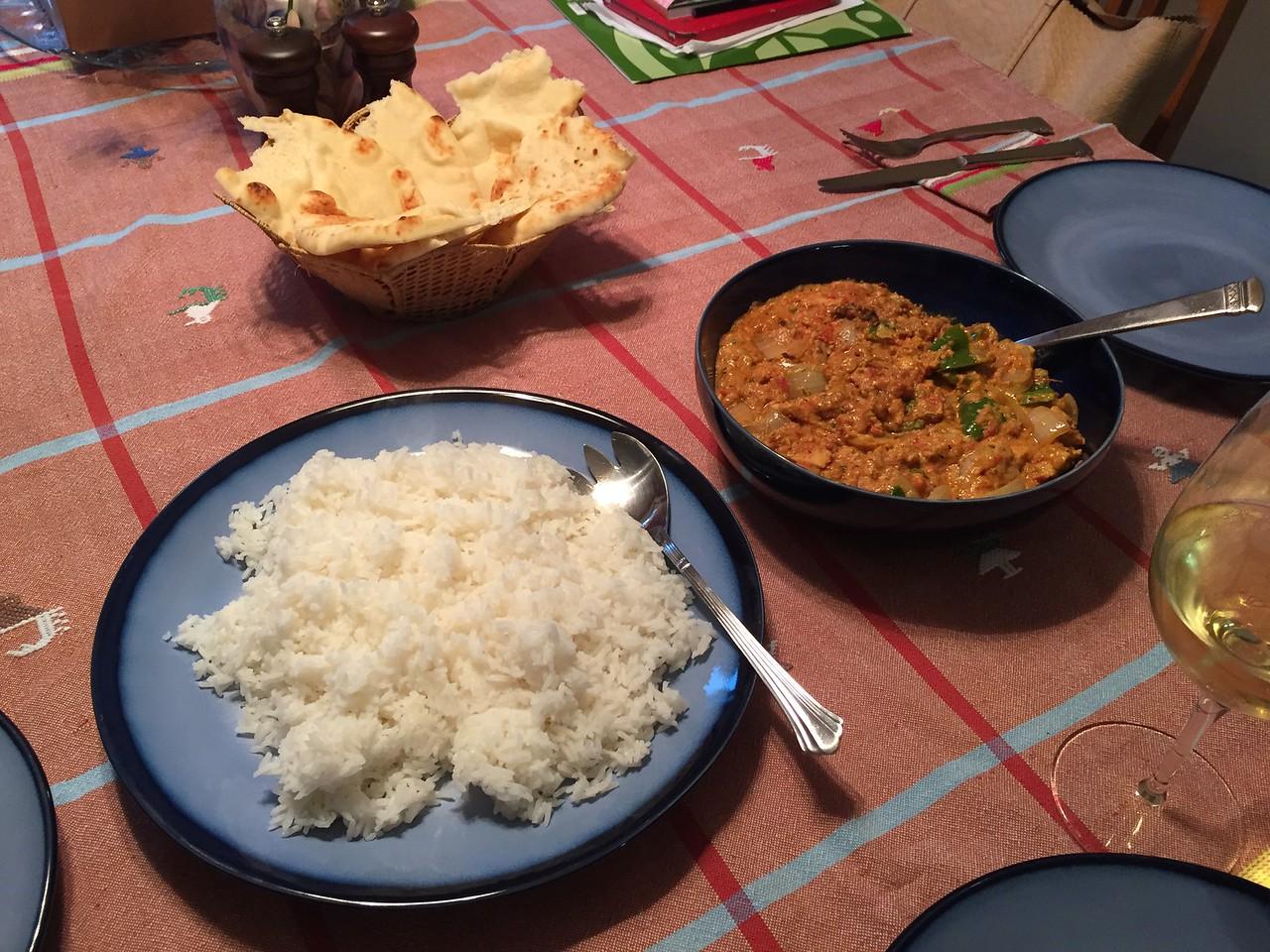 Chicken tikka masala, rice and garlic naan