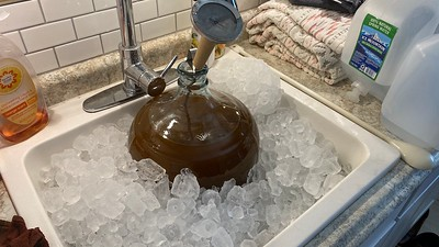 Chilling the beer down in prep for adding yeast
