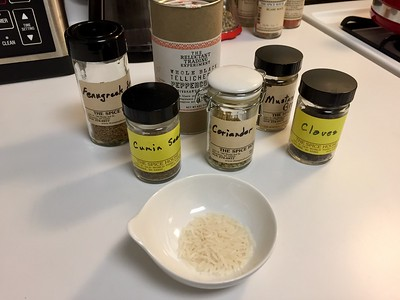First set of ingredients: 1 tbsp each of uncooked white rice, cumin seed and coriander seed. 3/4 tsp each of black mustard seed, black peppercorn and fenugreek seed. 1/4 tsp of whole clove.
