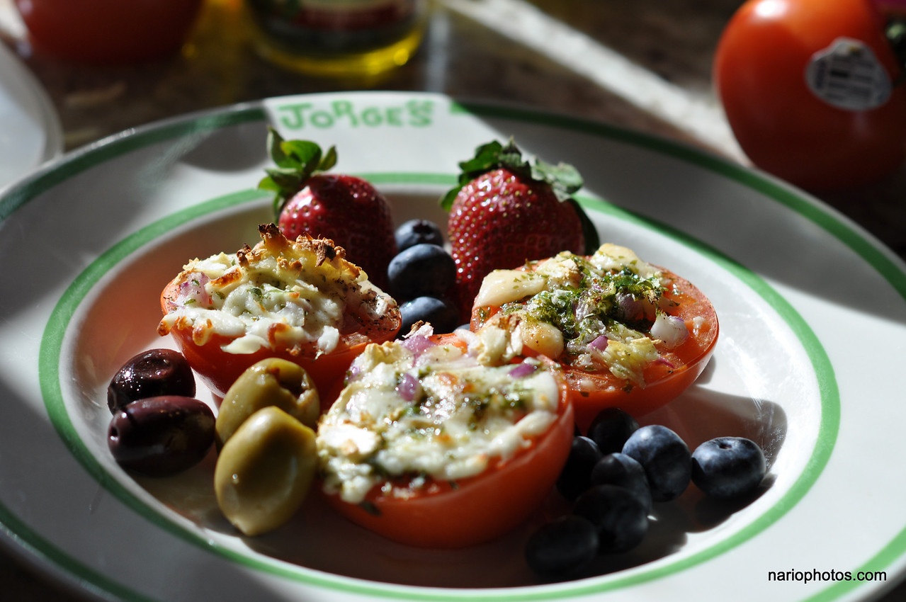 I used it all: strawberries, blueberries, and both types of olives.  My tomatoes were firm (raw) enough to hold in my hand and chew into them.  They were also soft and cooked enough to cut and eat with fork and knife. Your choice. I did both.  That's My Tomatoes A La Blog. <font color=grey><b>I'm on vacation, so maybe I'll post other things.</b></font> <font color=yellow><b>Please leave comments right here (below) or in the blog</b></font> with your suggestions and or experiences.