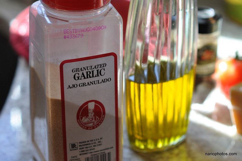 If you don't want to use fresh garlic, powered garlic is just as good. I actually used both.<br /> <br /> Don't forget to drizzle some olive oil over the whole thing. It adds good cholesterol and awesome flavor.