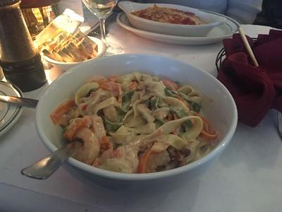 Sausalito Fettucine - shrimp & crab mixture sautéed with almonds, walnuts & pecans, tri-colored fettucine and alfredo sauce.