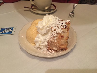 Apple strudel w/cinnamon ice cream and whipped cream