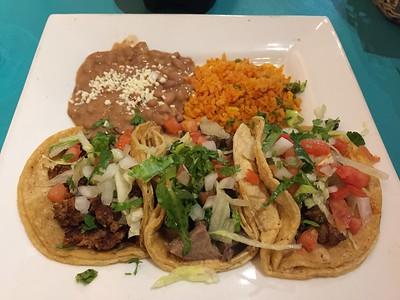 Asada, chorizo and lengua tacos.