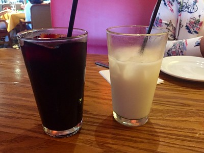 Jamaica and horchata drinks (non alcoholic).