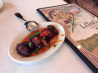 Delicas Andaluzas - bacon-wrapped dates w/ red pepper butter.