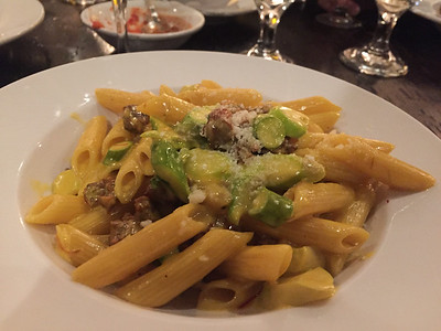 Penne w/Ground Lamb and Asparagus