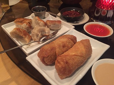 Vegetable dumplings and egg rolls