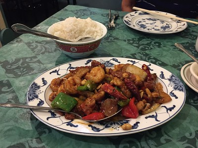 Kung-pao trio (shrimp, beef and chicken)