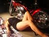Cindy Bonish posing with a Jolly Roger Custom bike for a Calendar Shoot - Milford Michigan - Photo by Pat Bonish