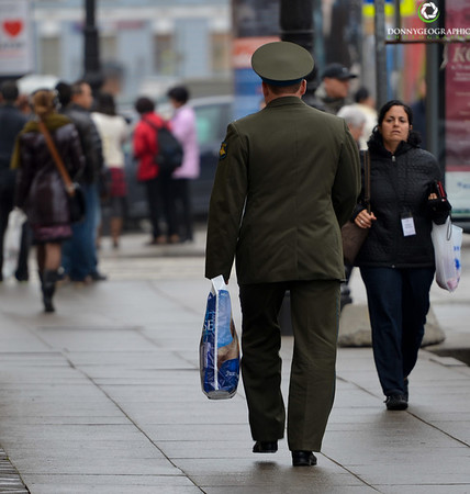 An officer out shopping in St Petersburg