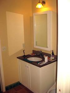 vanity in guest room