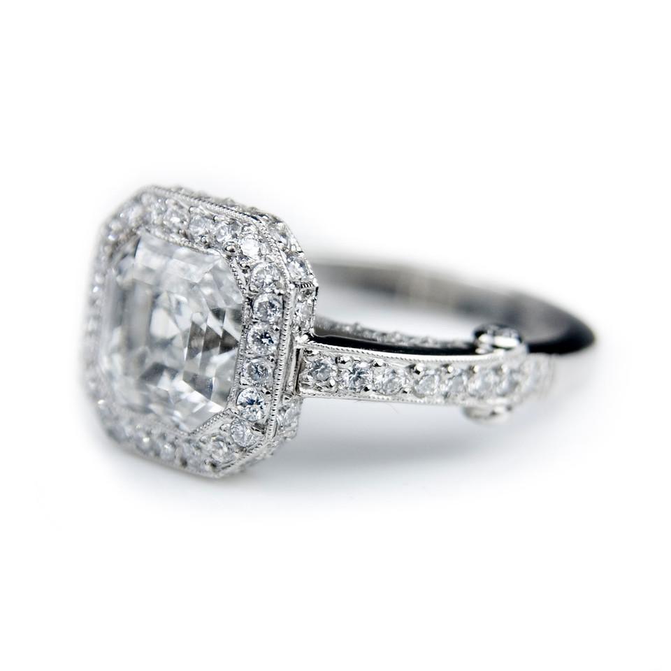 Asscher (Square Emerald) cut diamond engagement ring