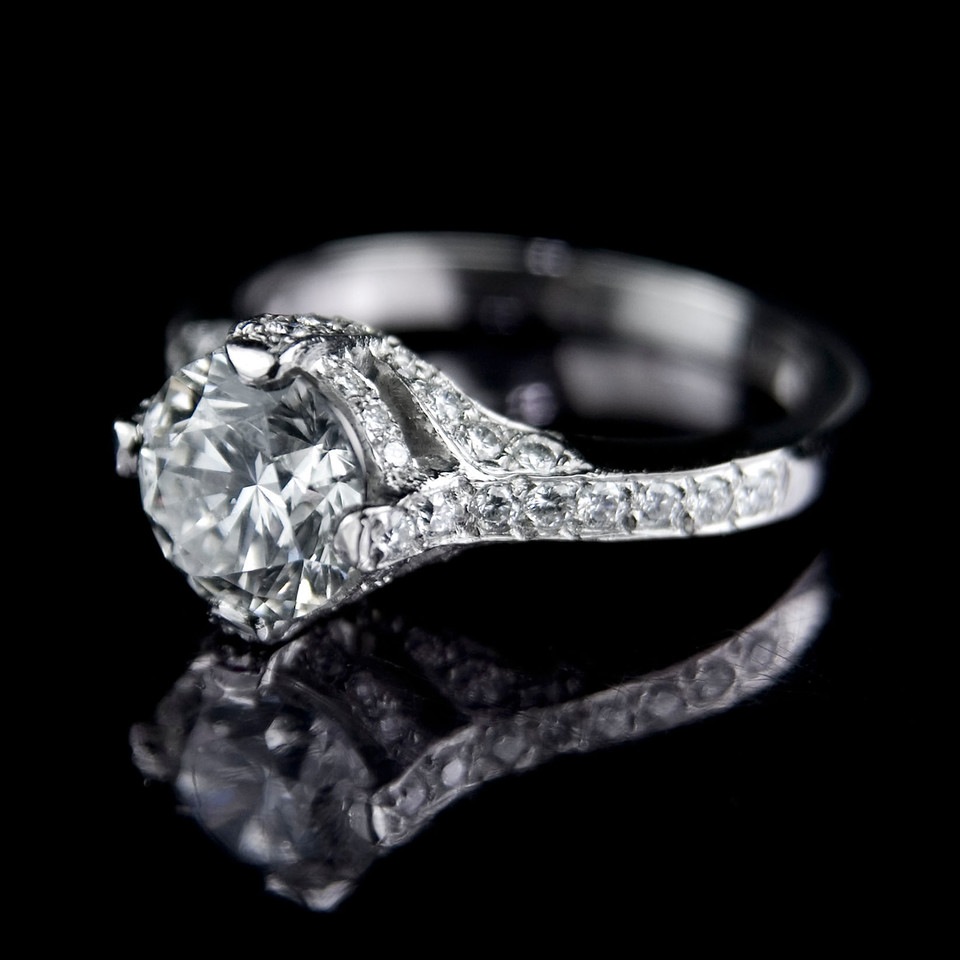 """Royal Crown"" engagement ring. 2ct brilliant cut diamond with pave set diamond bezel."