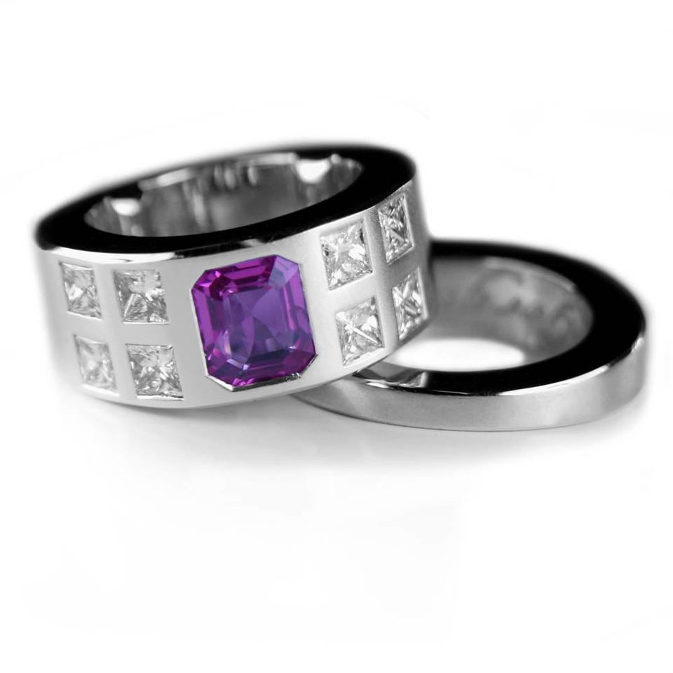 Pink sapphire with princess cut diamonds and matching wedding ring
